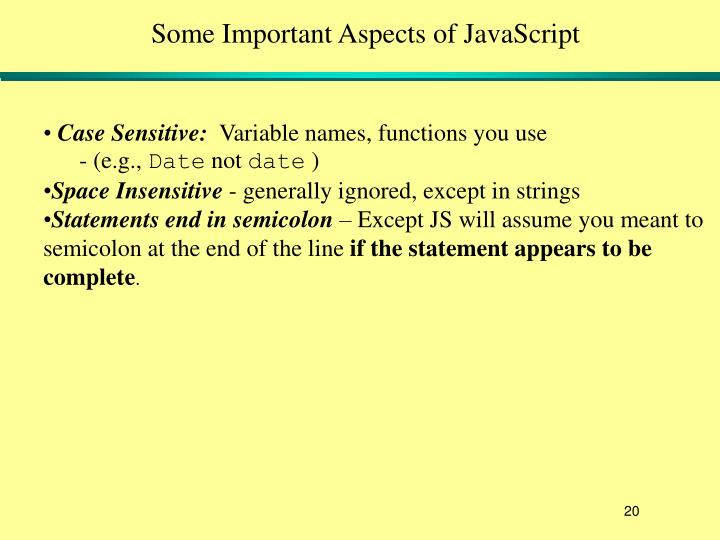 Some Important Aspects of JavaScript