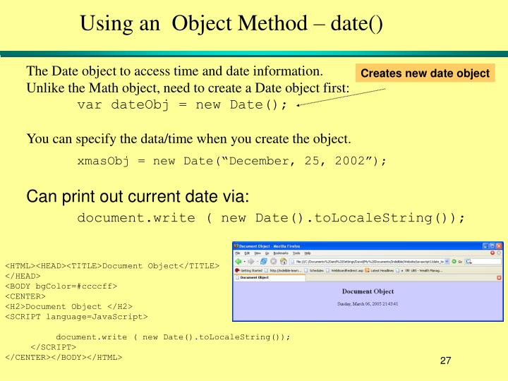 Using an  Object Method – date()