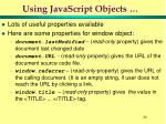 using javascript objects