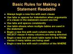 basic rules for making a statement readable