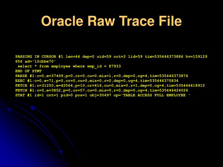 Oracle Raw Trace File