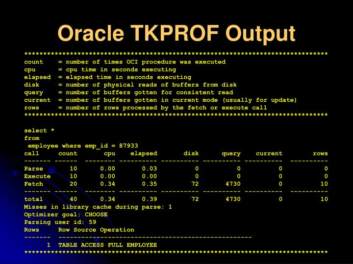 Oracle TKPROF Output
