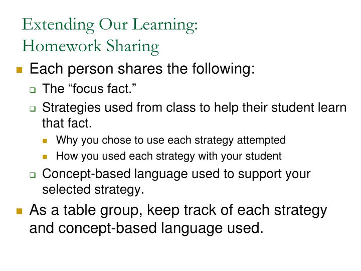 Extending Our Learning: