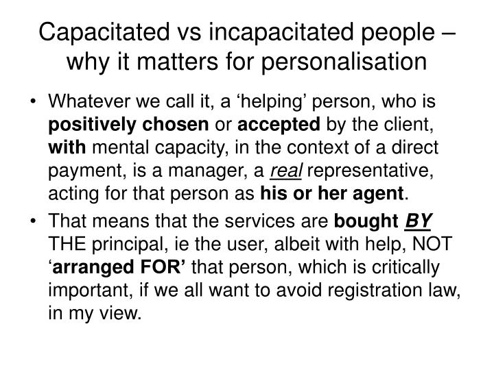 Capacitated vs incapacitated people – why it matters for personalisation