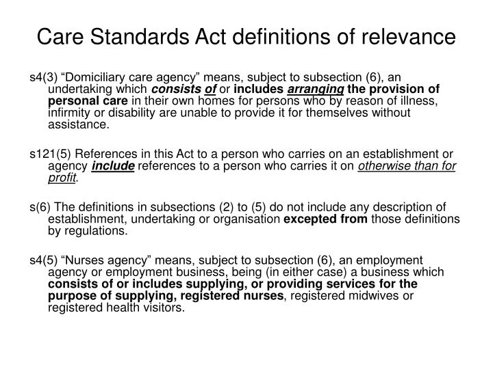 Care Standards Act definitions of relevance