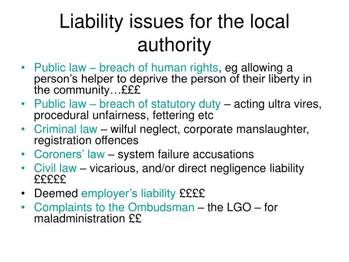 Liability issues for the local authority
