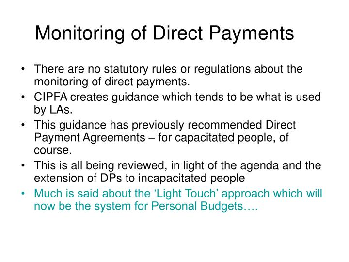 Monitoring of Direct Payments