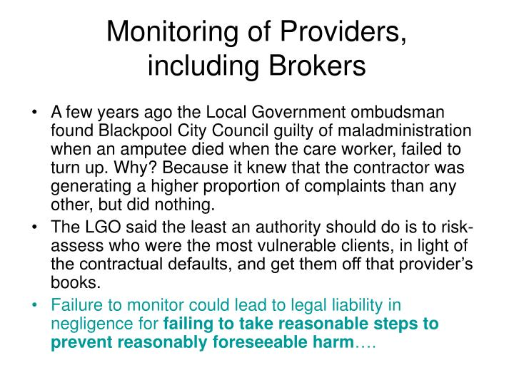 Monitoring of Providers,