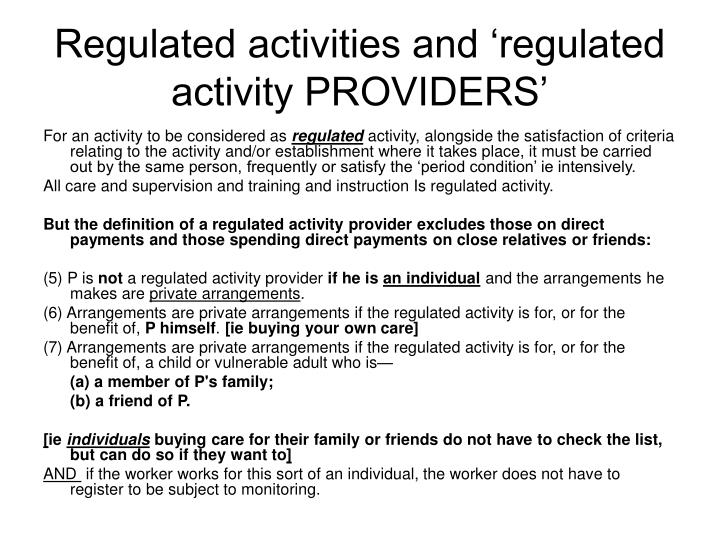 Regulated activities and 'regulated activity PROVIDERS'