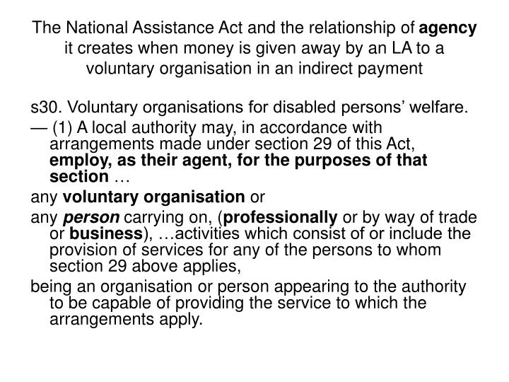 The National Assistance Act and the relationship of
