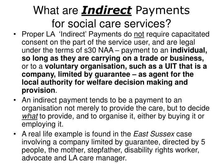 What are indirect payments for social care services