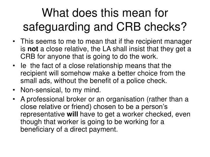 What does this mean for safeguarding and CRB checks?