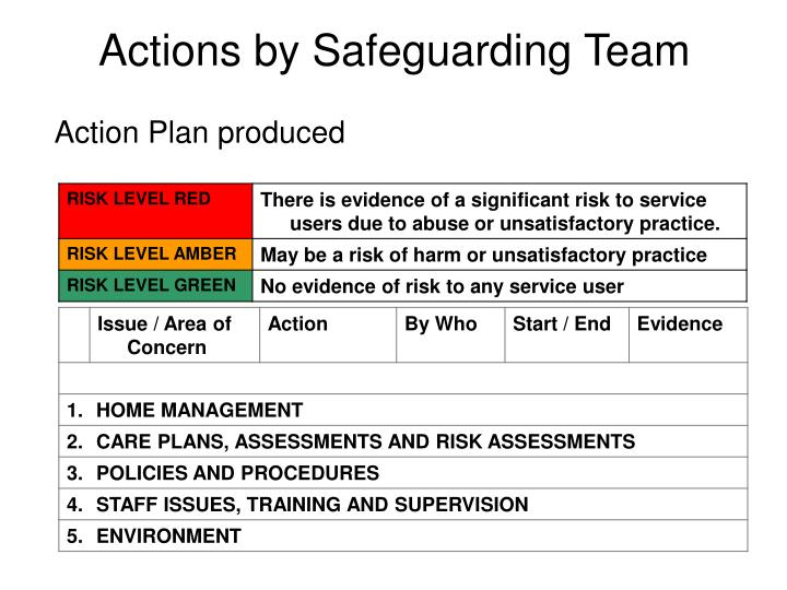 Actions by Safeguarding Team