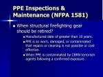 ppe inspections maintenance nfpa 15818