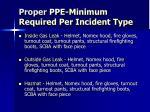 proper ppe minimum required per incident type1