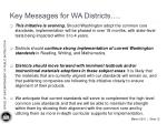 key messages for wa districts