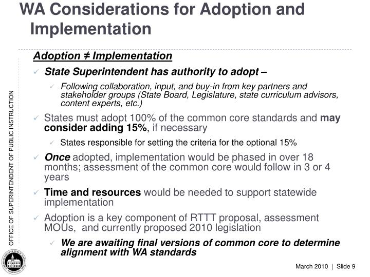 WA Considerations for Adoption and Implementation