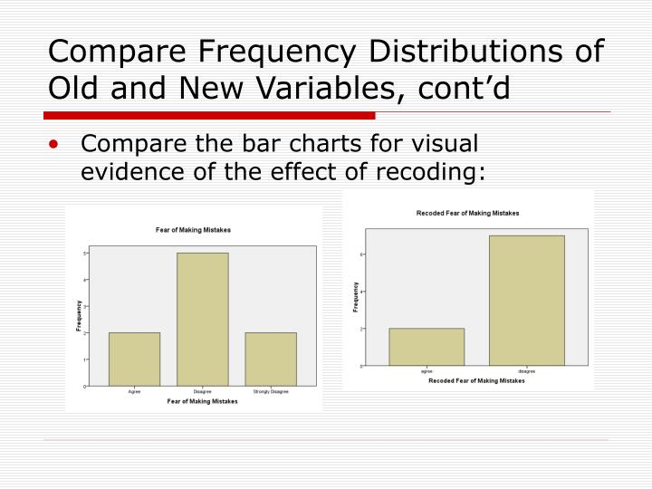 Compare Frequency Distributions of Old and New Variables, cont'd