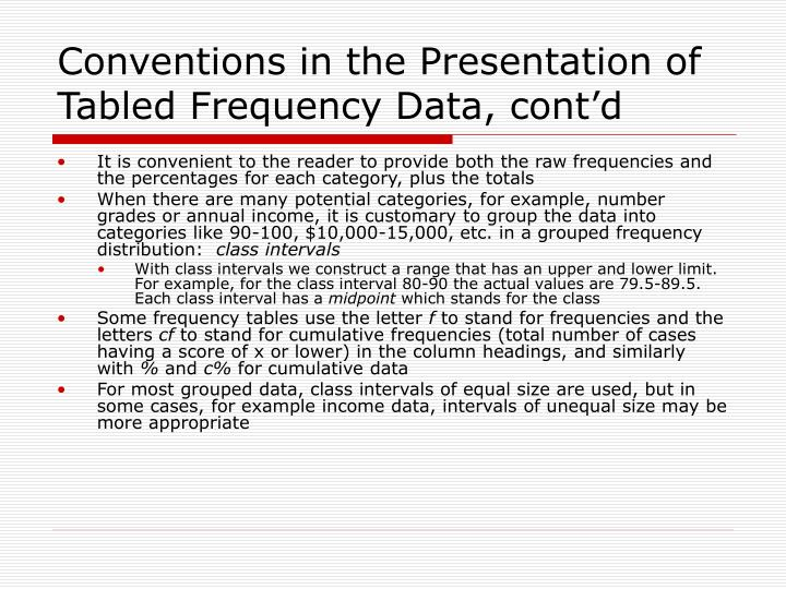 Conventions in the Presentation of Tabled Frequency Data, cont'd