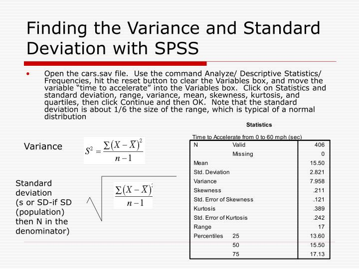 Finding the Variance and Standard Deviation with SPSS