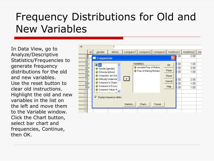 Frequency Distributions for Old and New Variables