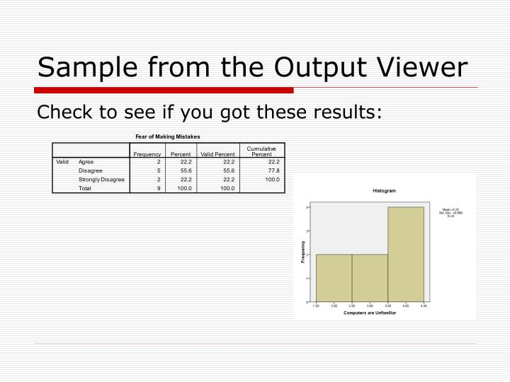 Sample from the Output Viewer