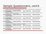 sample questionnaire cont d