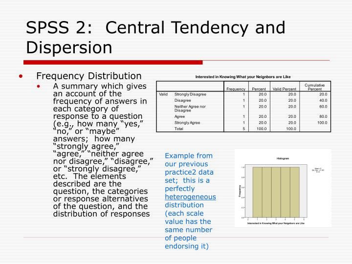 spss 2 central tendency and dispersion