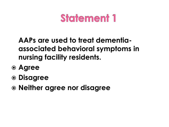 AAPs are used to treat dementia-associated behavioral symptoms in nursing facility residents.
