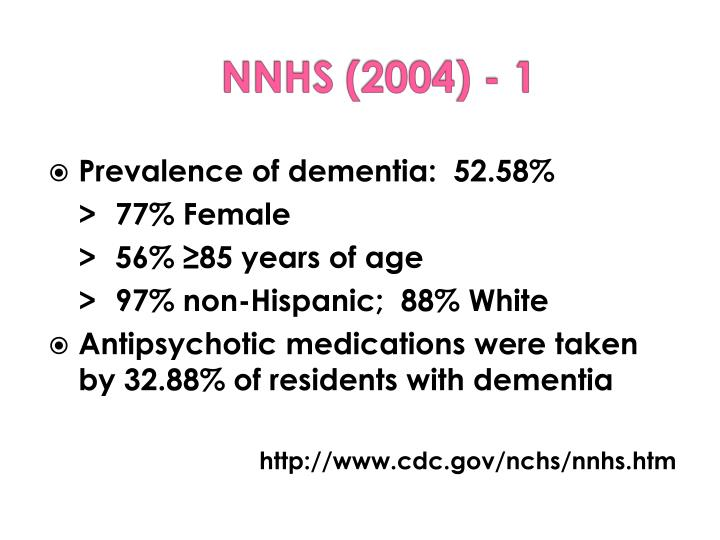 Prevalence of dementia:  52.58%