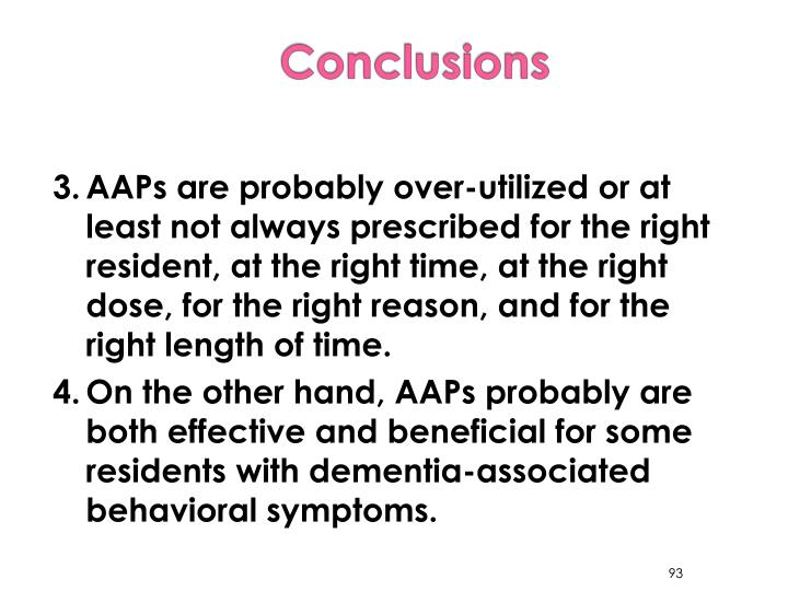 3.	AAPs are probably over-utilized or at least not always prescribed for the right resident, at the right time, at the right dose, for the right reason, and for the right length of time.
