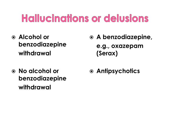 Alcohol or benzodiazepine