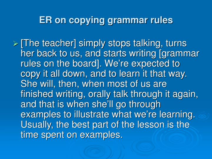 ER on copying grammar rules