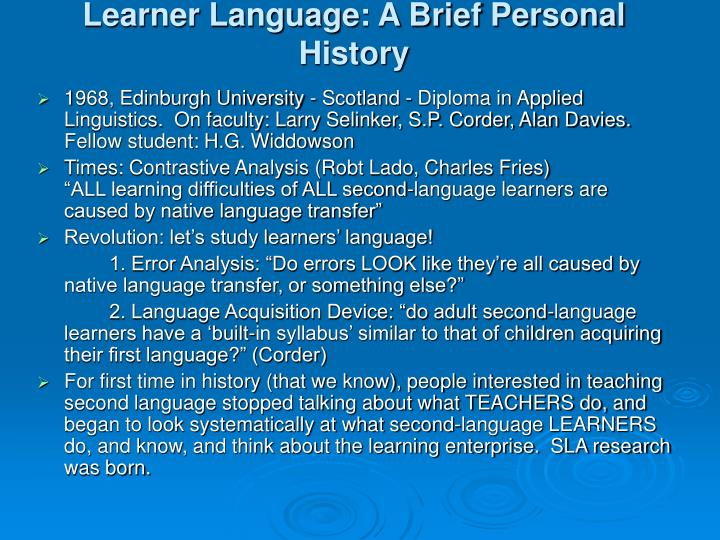 Learner Language: A Brief Personal History