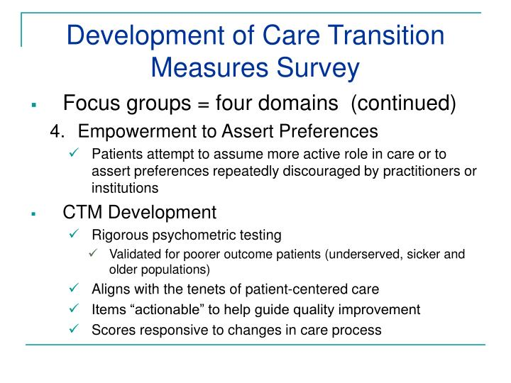 Development of Care Transition Measures Survey
