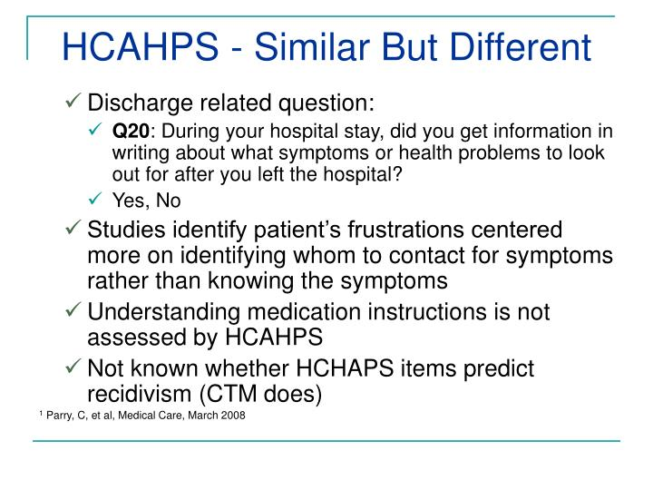 HCAHPS - Similar But Different