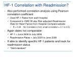 hf 1 correlation with readmission