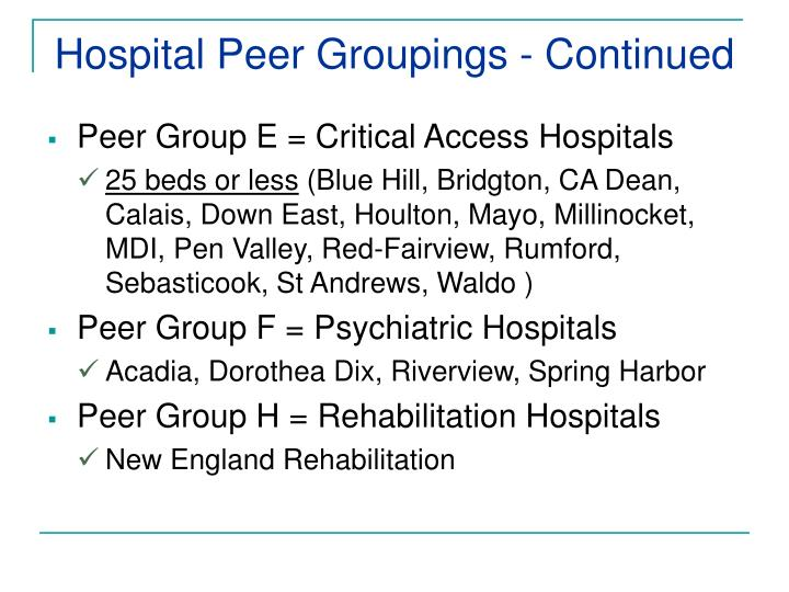 Hospital Peer Groupings - Continued