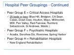 hospital peer groupings continued