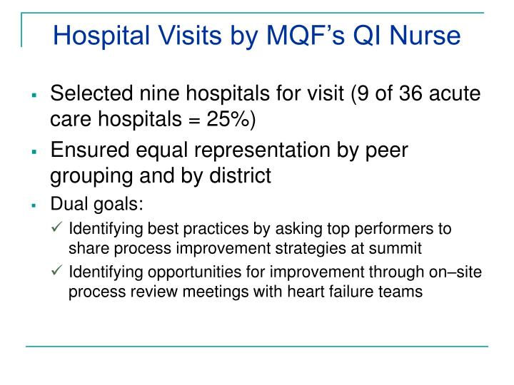 Hospital Visits by MQF's QI Nurse