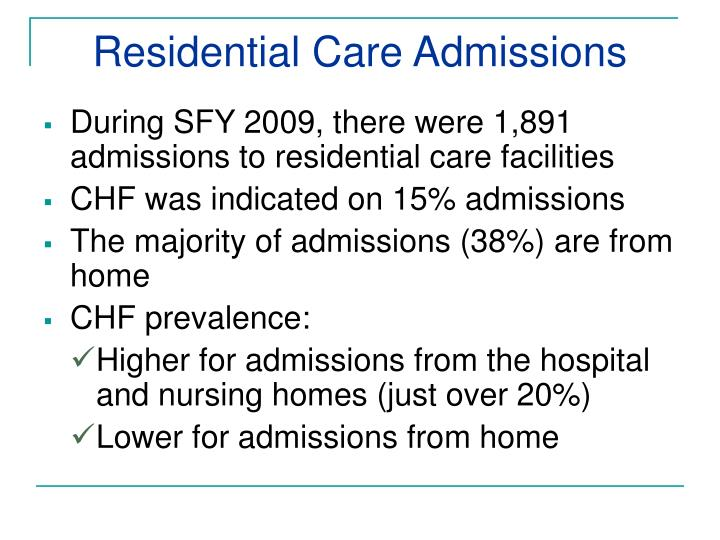 Residential Care Admissions