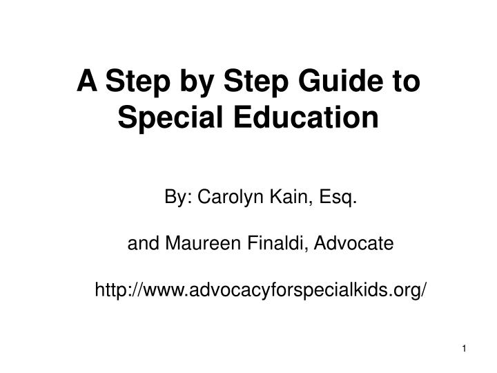 A step by step guide to special education