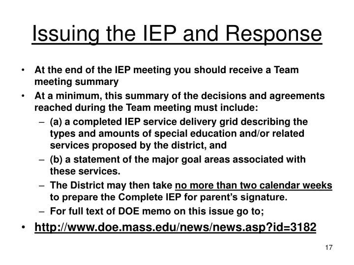 Issuing the IEP and Response