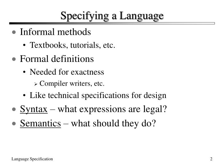 Specifying a Language