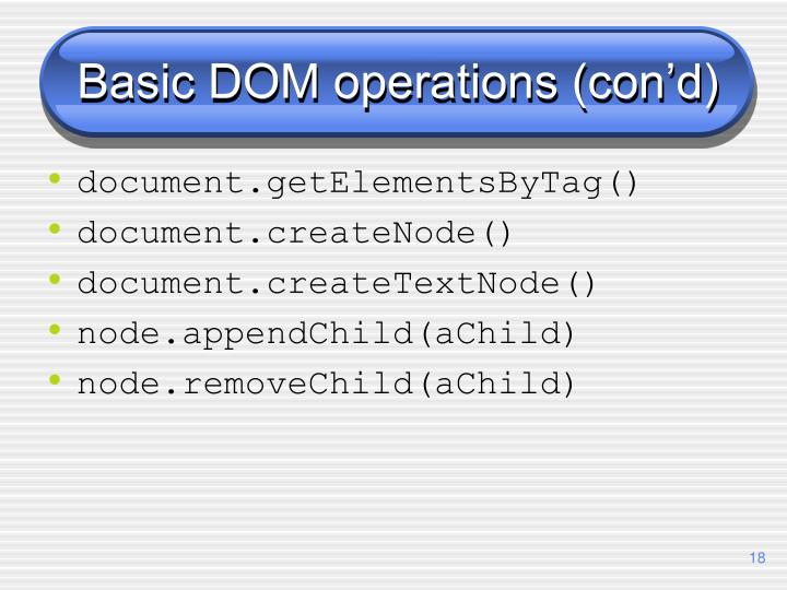 Basic DOM operations (con'd)