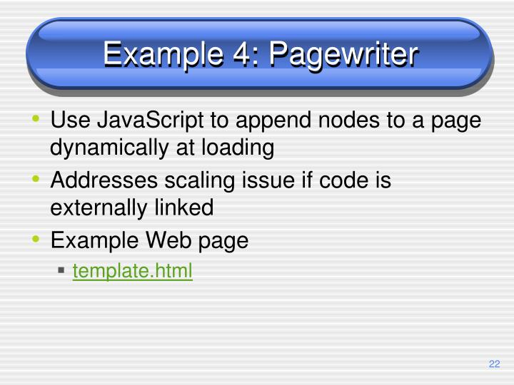 Example 4: Pagewriter