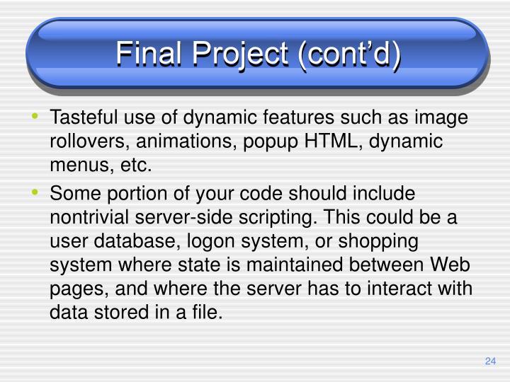 Final Project (cont'd)