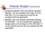 modular budget continued