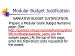 modular budget justification