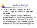modular budget